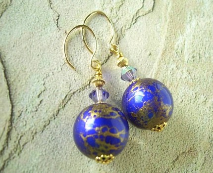 Gilded Galaxy Earrings - Vintage Cobalt Blue and Gold Lucite Beads