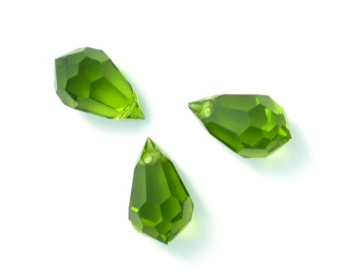 Vintage Czech Machine Cut Crystal Teardrop Beads in Olivine