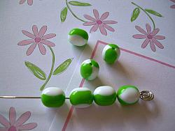 Vintage Lucite Beads 7 Lime Green White Stripes Retro