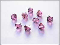 Swarovski 5301 Crystal Beads, 6 mm. Bicones Rose Satin