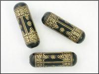Vintage Lucite Beads Elegant Black With Golden Engraving