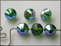 VINTAGE Swarovski Crystal Beads Art. 5101 8mm Green Turmaline AB