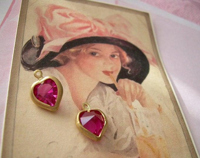 Pair Vintage Swarovski Heart Charms Fuchsia Matte Gold-Plated