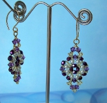 Sugar Plum Beaded Earrings in Amethyst & Pearl