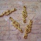 4 Miriam Haskell Vintage Brass Connectors Russian Gold Plate Paisley Art Nouveau