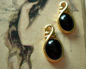 Pair of Vintage Drops Gold Plated with Jet Black Cabochon Stones