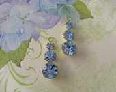 Vintage Swarovski Connector Drops Sapphire Blue Raw Brass
