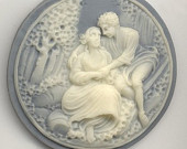 Vintage Resin Cameo in Blue and Ivory - Romantic Couple