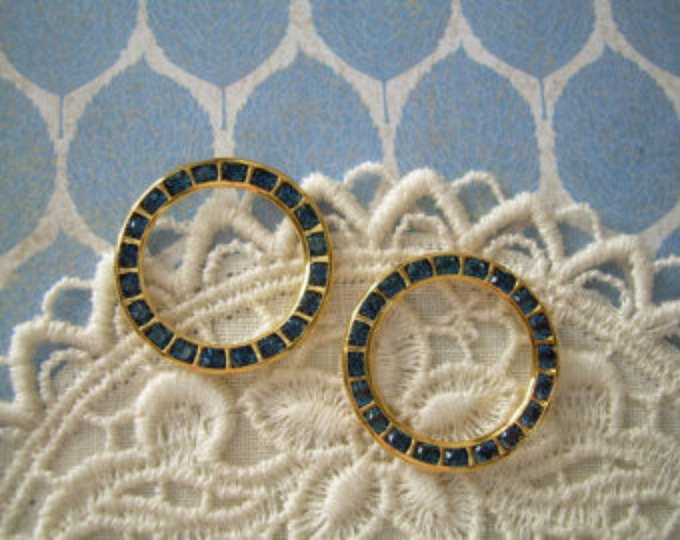Vintage Swarovski Rhinestone Rings Hoops Montana Blue 2