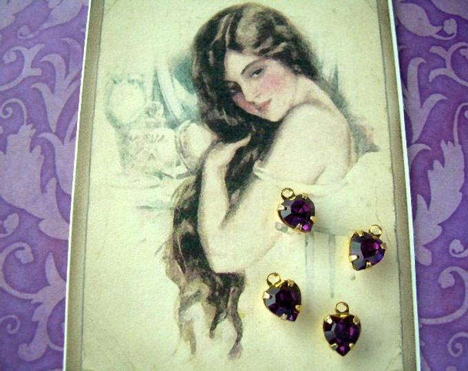 4 Vintage Swarovski Tiny Heart Charms in Amethyst Goldplated