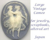 Vintage Resin Cameo in Blue and Ivory - Grecian Ladies