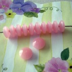Vintage Moonglow Lucite Beads - Rosy Pink Rondelle Spacers 12