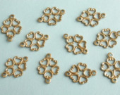 Vintage Brass Connectors Filigree Stampings Heart Design 10