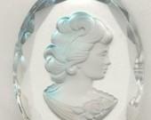 Vintage Crystal Reverse Intaglio Cameo Cabochon Elegant Lady in Blue