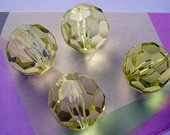 Vintage Lucite Beads 5 Pale Yellow Faceted Rounds