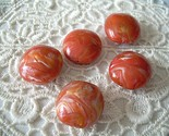 Peach Coral Lentils Vintage Lucite Beads Marbelized Swirls 5