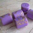 Gold Splashed Lavender Purple Vintage Lucite Beads - Cylinders 5