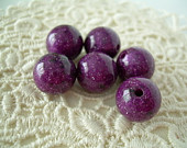 Vintage Lucite Grape Purple Sparkle Beads 8
