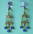 Vintage Swarovski Sapphire Blue Rhinestone Dangle Earrings