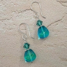 Sea Breeze Beaded Earrings Teal Blue