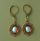 Vintage Swarovski Topaz AB Crystal Earrings