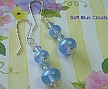Lampwork Dangle Earrings Soft Blue Clouds