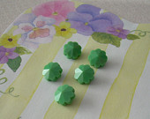 5 Vintage Swarovski Margarita Beads Spring Green  8mm Art 5110 Daisy