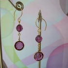 Amethyst Crystal Earrings with Vintage Components