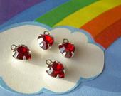 Swarovski Ruby Red Vintage Rhinestone Heart Charms 4 Drops Silver Plated