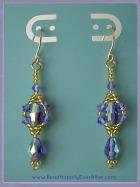 Beaded Dangle Earrings Tanzanite Sky