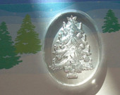 Vintage Intaglio Christmas Tree West German Glass Crystal Cabochon