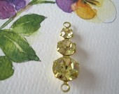 2 Vintage Swarovski 2-Loop Brass Connectors Jonquil Yellow