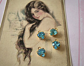 4 Vintage Swarovski - Tiny Heart Charms in Aquamarine