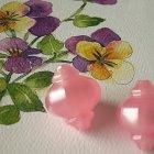 Vintage Moonglow Lucite Beads Asian Influence Garden Lanterns Rose Pink