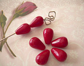 7 Red Vintage Glass Beads Teardrop Czechoslovakia