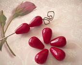 7 Red Vintage Glass Beads Teardrop Czechoslovakia