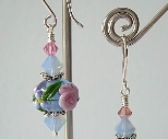 Winter Garden Earrings with Floral Lampwork Beads