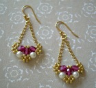 Roses and Pearls Beaded Earrings
