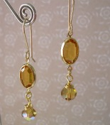 Handcrafted Beaded Earrings Golden Topaz Crystal