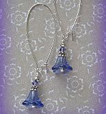 Beaded Dangle Earrings in Violet Purple