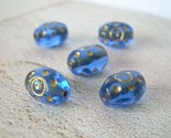 Vintage Glass Beads Cobalt Blue and Gold Etched Czech Ovals 10