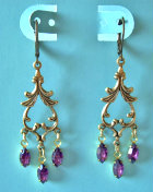Vintage Swarovski Amethyst Rhinestone Dangle Earrings