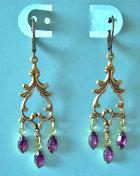 Vintage Swarovski Amethyst Rhinestone Dangle Earrings