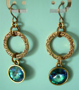 Aquamarine AB Hammered Brass Dangle Earrings