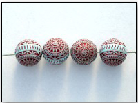Vintage West German Lucite Etched Beads Cranberry and Blue 6