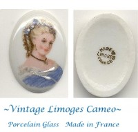 "Vintage Limoges Porcelain Glass Cameo France 1-1/3"" by 1"""