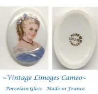 """Vintage Limoges Porcelain Glass Cameo France 1-1/3"""" by 1"""""""