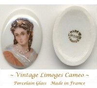 "Vintage Limoges Porcelain Glass Cameo 2 France 1-1/3"" by 1"""