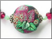Polymer Clay Pendant - Midnight Garden