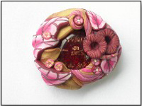 Polymer Clay Pendant - PolyDichroFusion Strawberry Caramel